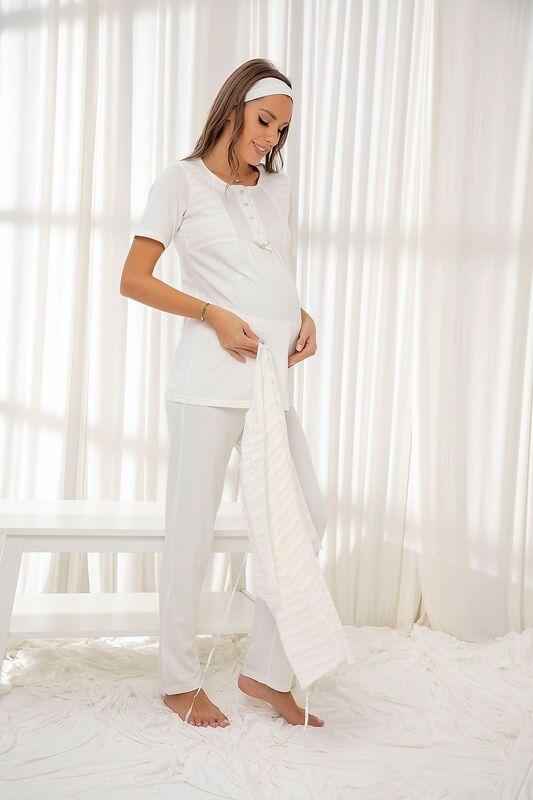 SİYAH İNCİ - Ekru 3'Lü Sabahlıklı Dantelli Düğmeli Modal Hamile Pijama Takım Bandana Hediyeli