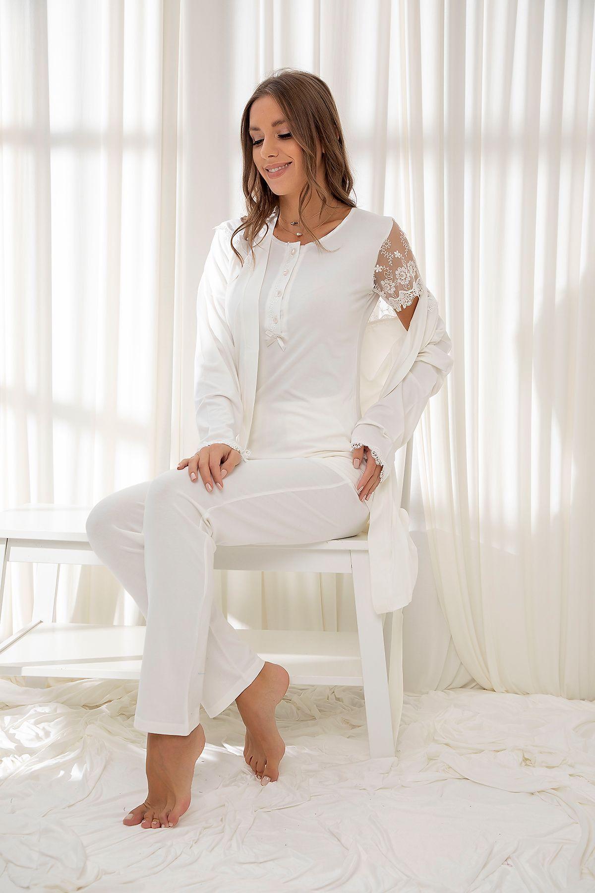 Ekru 3'Lü Sabahlıklı Dantelli Düğmeli Modal Pijama Takım