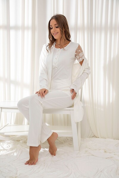 Ekru 3'Lü Sabahlıklı Dantelli Düğmeli Modal Pijama Takım - Thumbnail