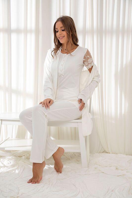 SİYAH İNCİ - Ekru 3'Lü Sabahlıklı Dantelli Düğmeli Modal Pijama Takım