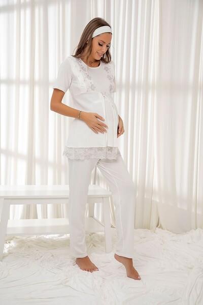 Ekru Dantelli Düğmeli Modal Hamile Pijama Takım Bandana Hediyeli - Thumbnail