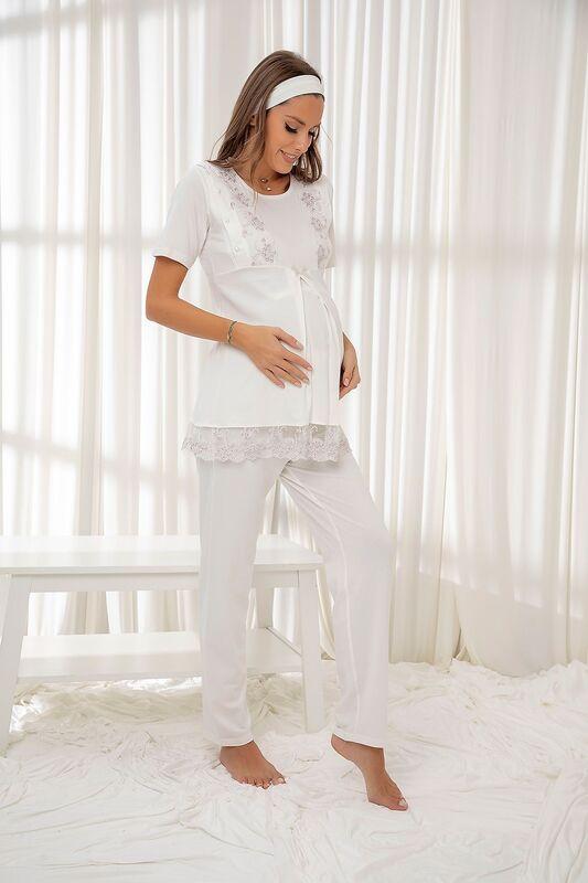SİYAH İNCİ - Ekru Dantelli Düğmeli Modal Hamile Pijama Takım Bandana Hediyeli
