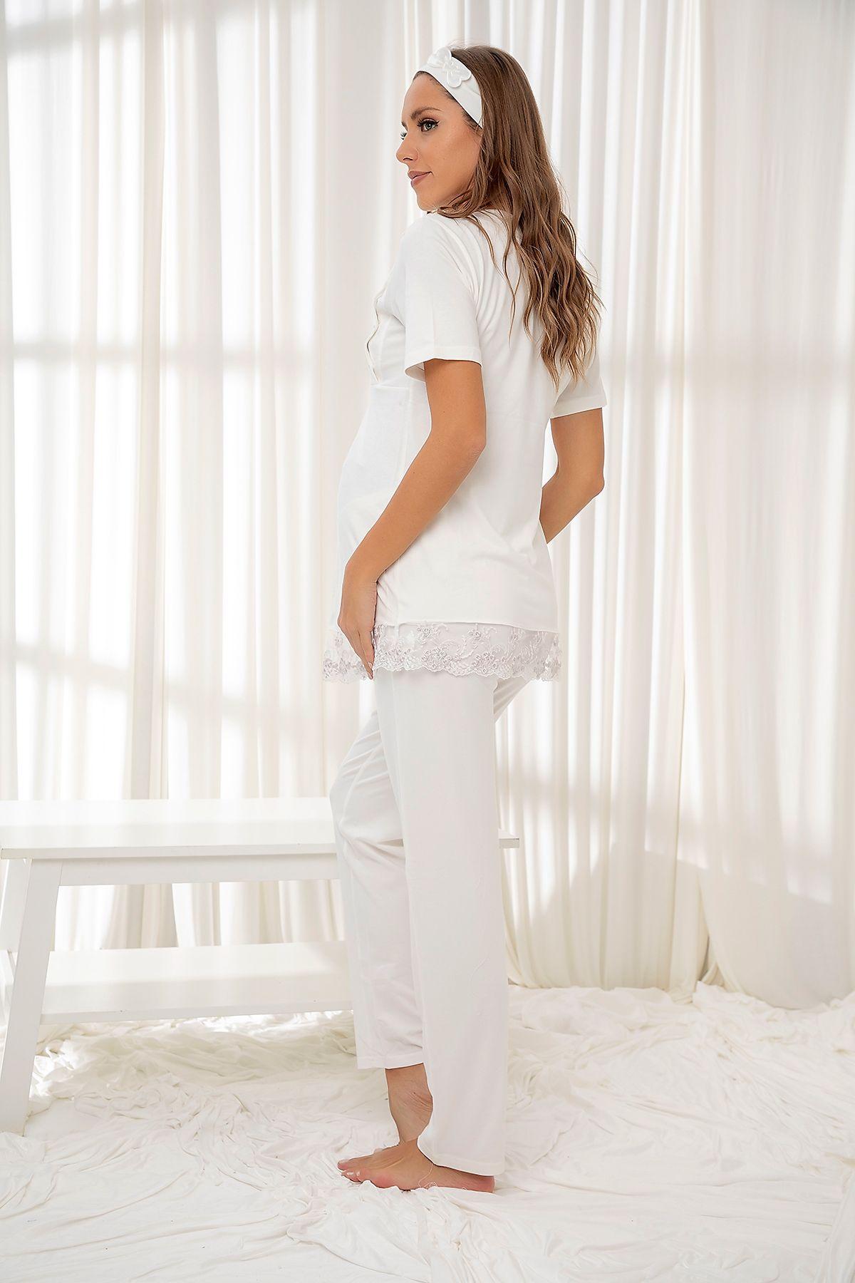 Ekru Dantelli Düğmeli Modal Hamile Pijama Takım Bandana Hediyeli
