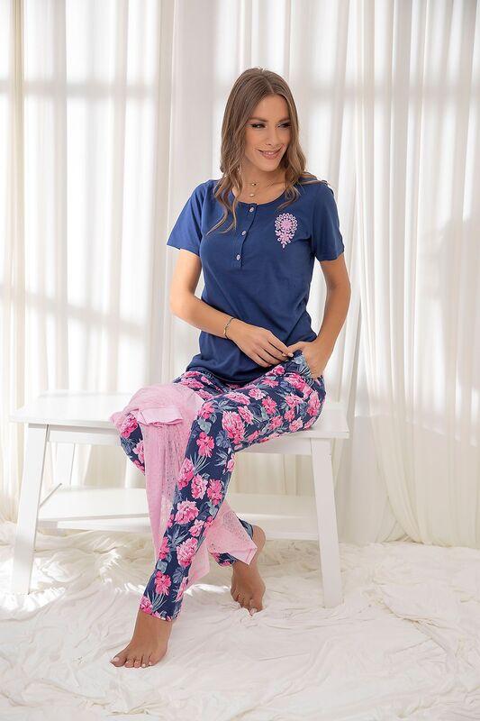 SİYAH İNCİ - Fuşya 3'Lü Pamuklu Sabahlıklı Pijama Takım