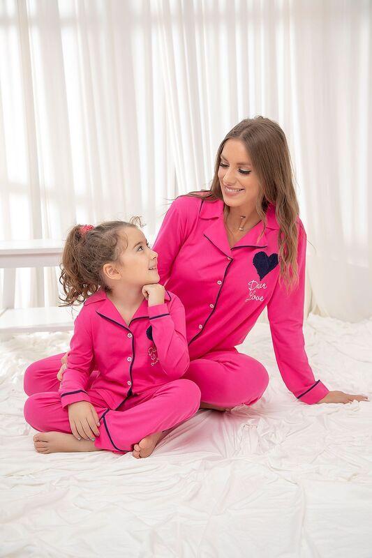 SIYAH İNCİ - Fuşya Pamuklu Likrali Düğmeli Biyeli Pijama Takım