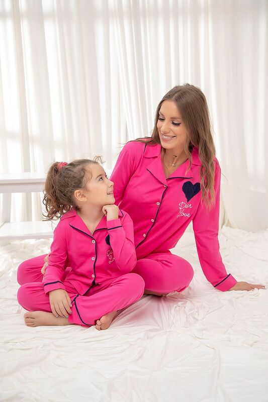 SİYAH İNCİ - Fuşya Pamuklu Likrali Düğmeli Biyeli Pijama Takım
