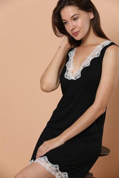 SIYAH INCI - Geniş Askılı Dantel Detaylı Viskon Elbise