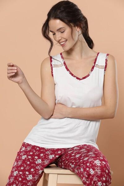 SİYAH İNCİ - Geniş Askılı Viskon Pijama Takım