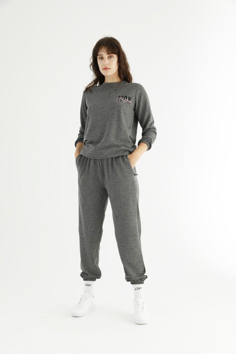 SİYAH İNCİ - Gri Cepli Eşofman-Sweatshirt Takım 21278099
