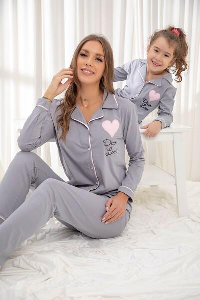 Gri Pamuklu Likrali Düğmeli Biyeli Pijama Takım - Thumbnail