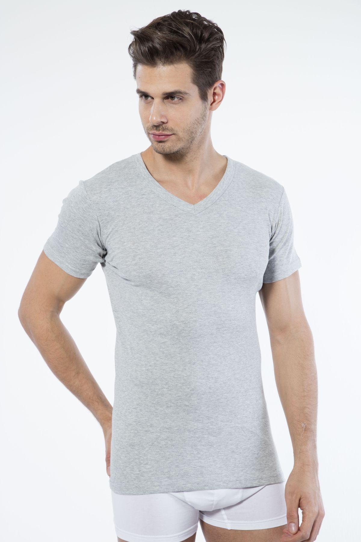 Gri Pamuklu V Yaka Kısa Kol T-Shirt