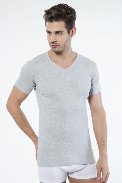 SİYAH İNCİ - Gri Pamuklu V Yaka Kısa Kol T-Shirt