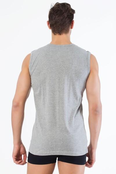 Gri Pamuklu V Yaka Kolsuz T-Shirt - Thumbnail