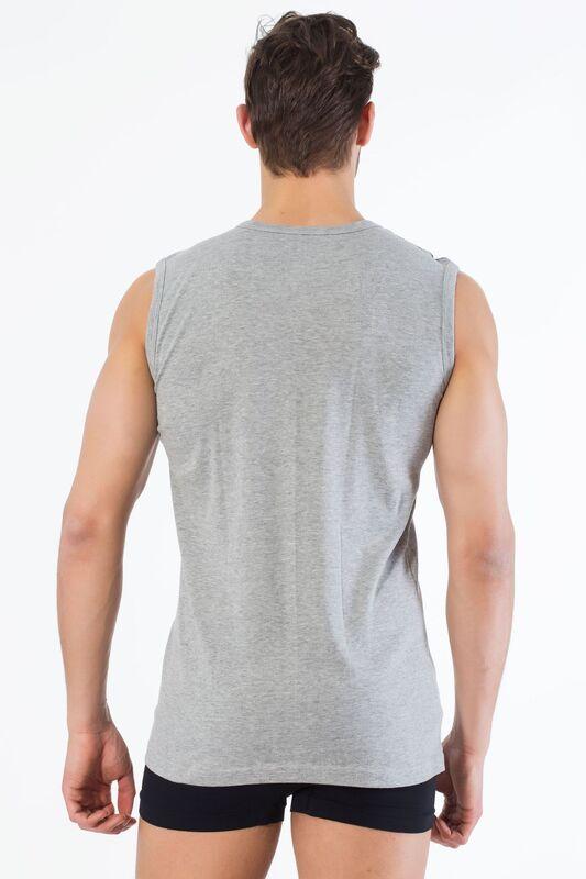Gri Pamuklu V Yaka Kolsuz T-Shirt
