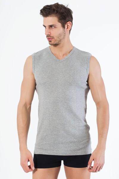 SİYAH İNCİ - Gri Pamuklu V Yaka Kolsuz T-Shirt
