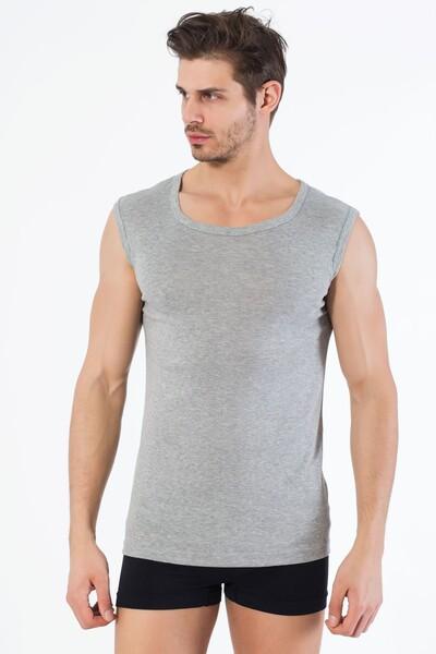SİYAH İNCİ - Gri Pamuklu Yuvarlak Yaka Kolsuz T-Shirt