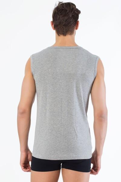 Gri Pamuklu Yuvarlak Yaka Kolsuz T-Shirt - Thumbnail