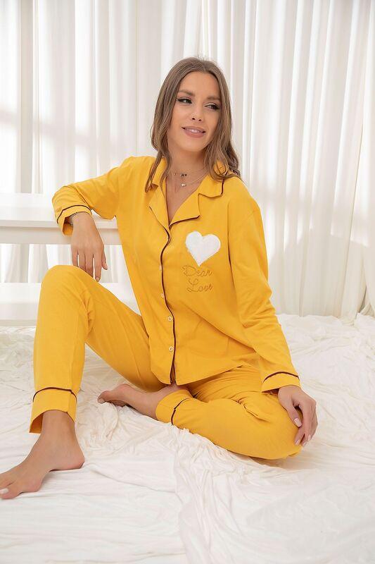 SİYAH İNCİ - Hardal Pamuklu Likrali Düğmeli Biyeli Pijama Takım