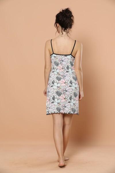 İp Askılı Dantel Detaylı Viskon Elbise - Thumbnail