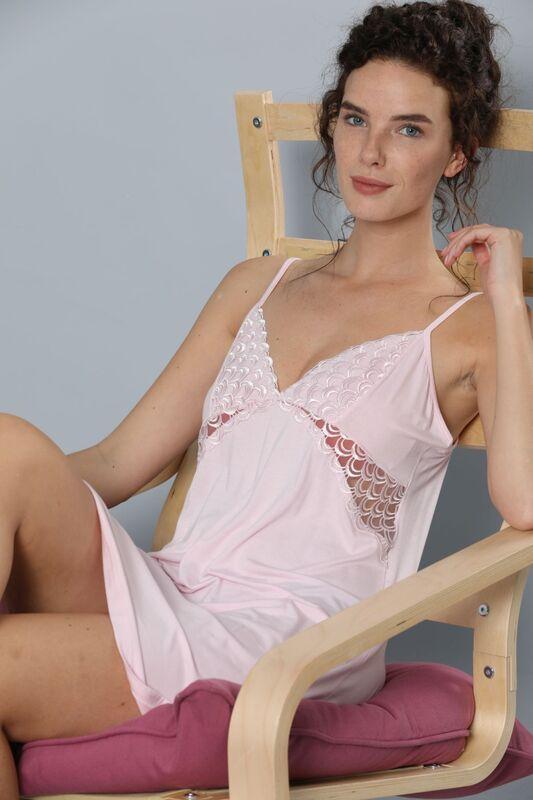 SIYAH INCI - İp Askılı Dantel Detaylı Viskon Elbise