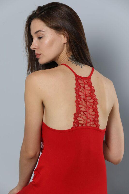 İp Askılı Dantel Ve Sırt Detaylı Viskon Elbise