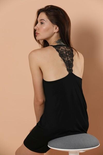 İp Askılı Dantel Ve Sırt Detaylı Viskon Elbise - Thumbnail