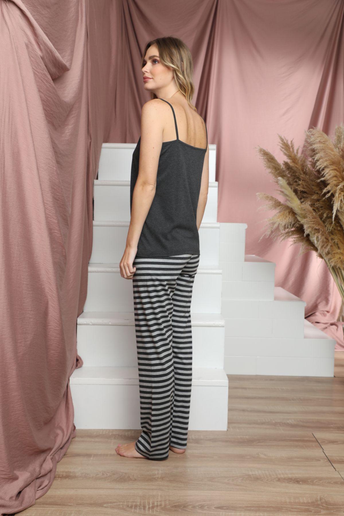 SİYAH İNCİ - İp Askılı Dantelli Pamuklu Likralı Pijama Takım 21133910