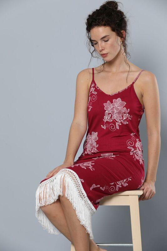 SIYAH INCI - İp Askılı Püskül Detaylı Viskon Elbise