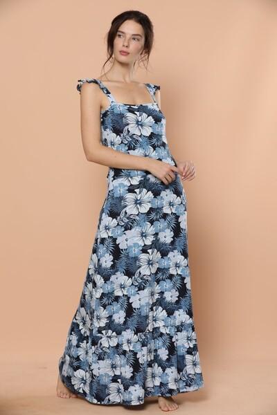 SIYAH INCI - İp Askılı Uzun Viskon Elbise
