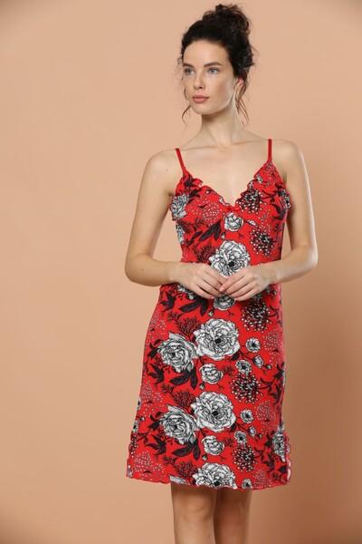 SİYAH İNCİ - İp Askılı Viskon Elbise