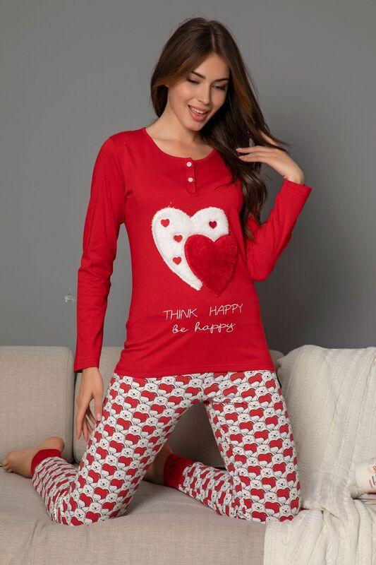SİYAH İNCİ - Kadın Pamuklu Likrali Düğmeli Nakışlı Pijama Takım