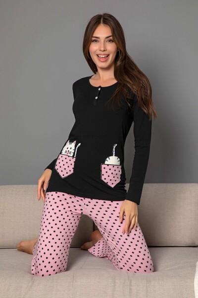 Kadın Pamuklu Likrali Düğmeli Nakışlı Pijama Takım - Thumbnail