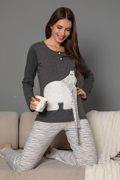 SIYAH İNCİ - Kadın Pamuklu Likrali Düğmeli Nakışlı Pijama Takım