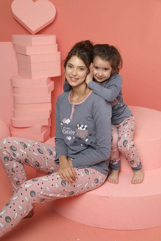 SİYAH İNCİ - Kadın Pamuklu Likrali Düğmeli Pijama Takım
