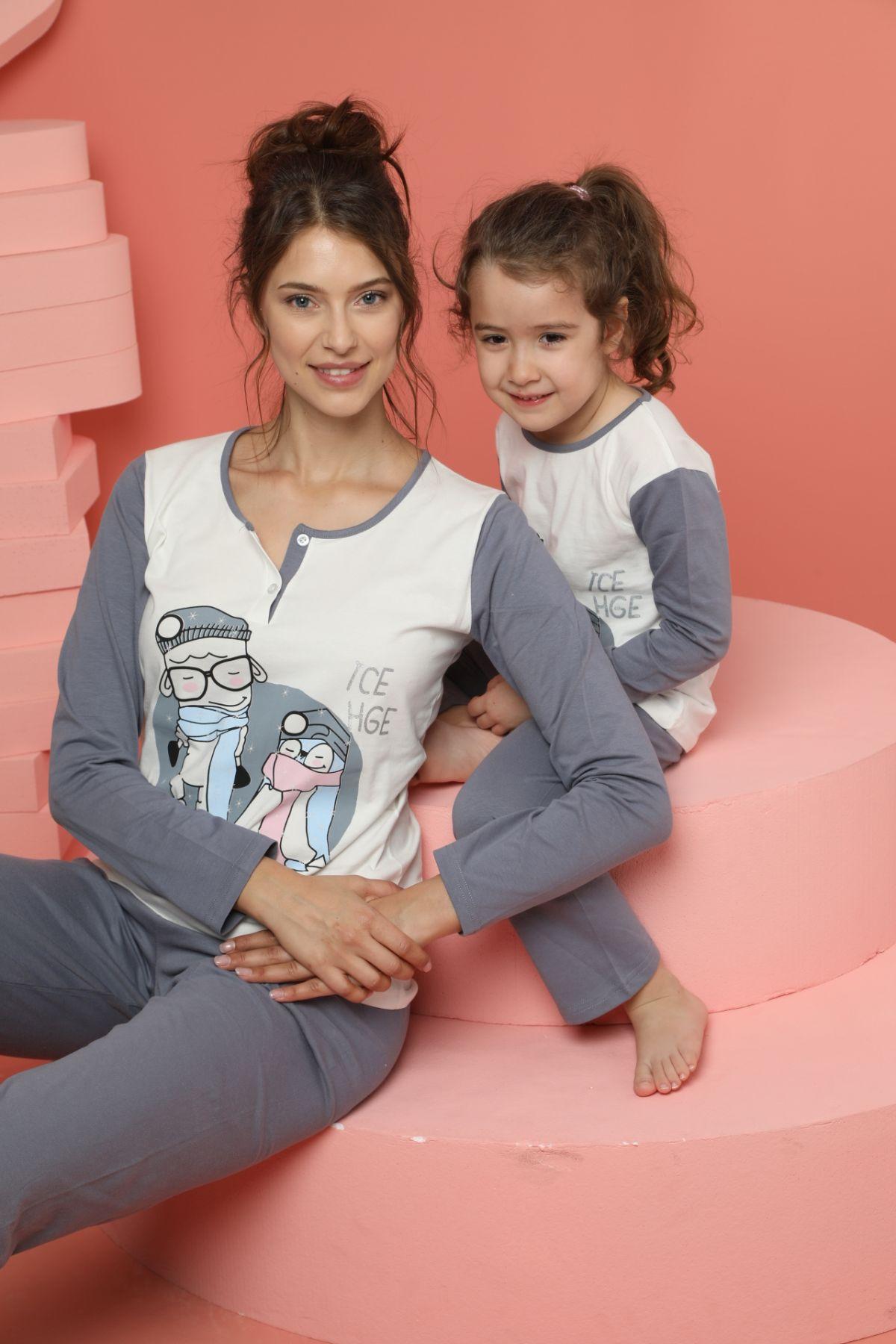 Kadın Pamuklu Likrali Düğmeli Pijama Takım