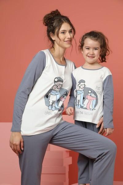 Kadın Pamuklu Likrali Düğmeli Pijama Takım - Thumbnail