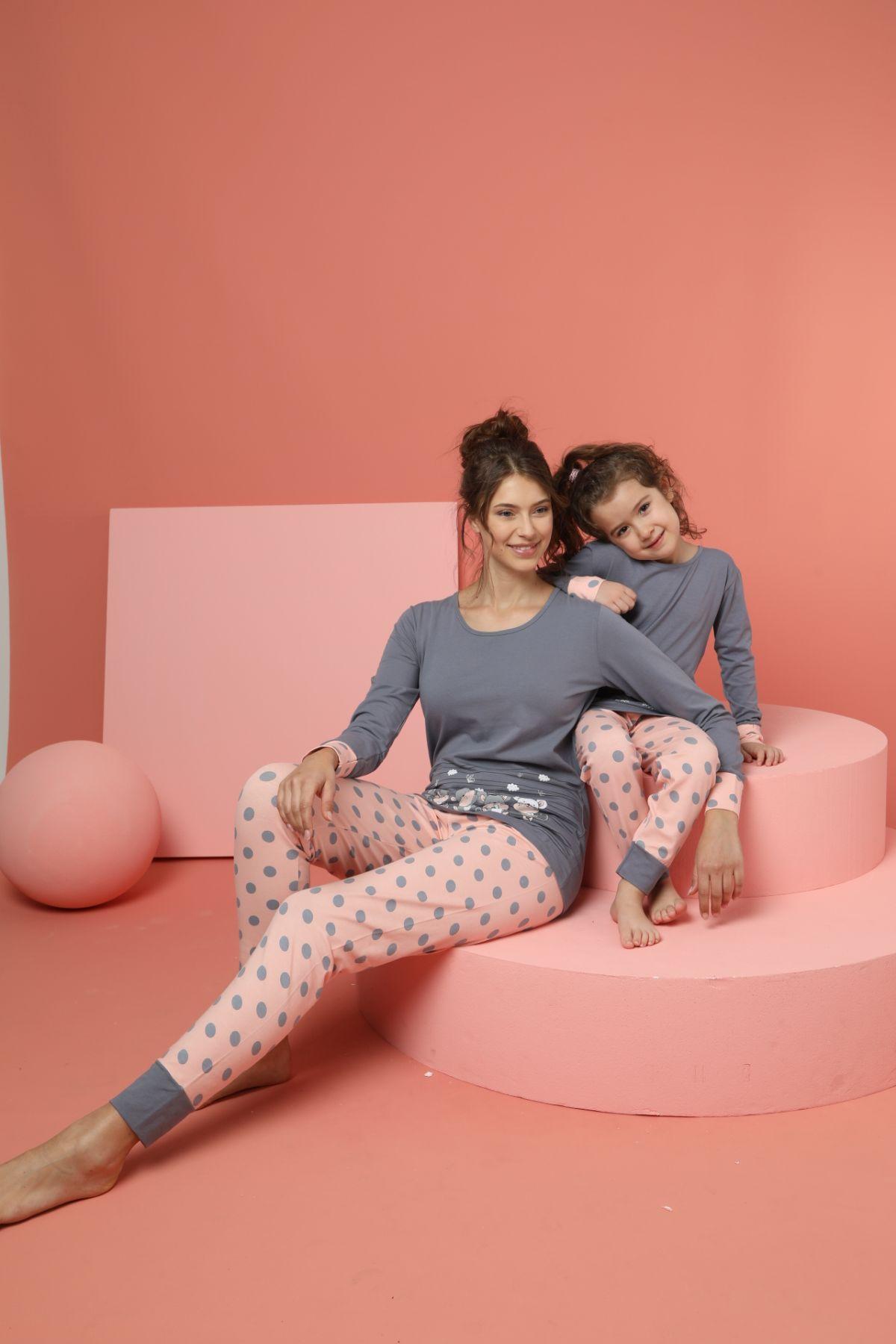 Kadın Pamuklu Likrali Pijama Takım