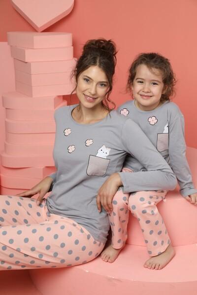 Kadın Pamuklu Likrali Pijama Takım - Thumbnail