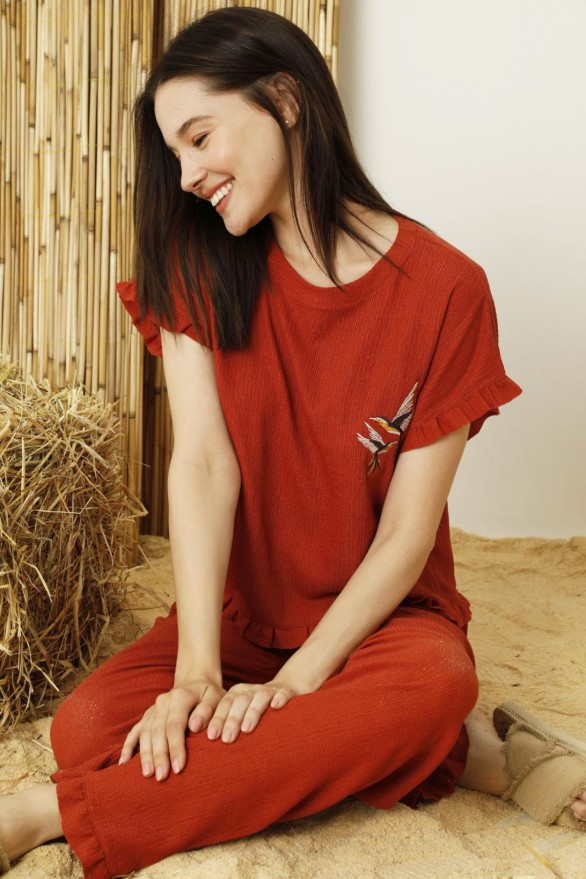 SİYAH İNCİ - Kiremit Krinkıl Kumaş Likralı Pijama Takım