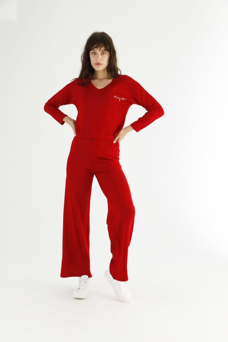 SİYAH İNCİ - Kırmızı Alt-Üst Triko Takım 21278087