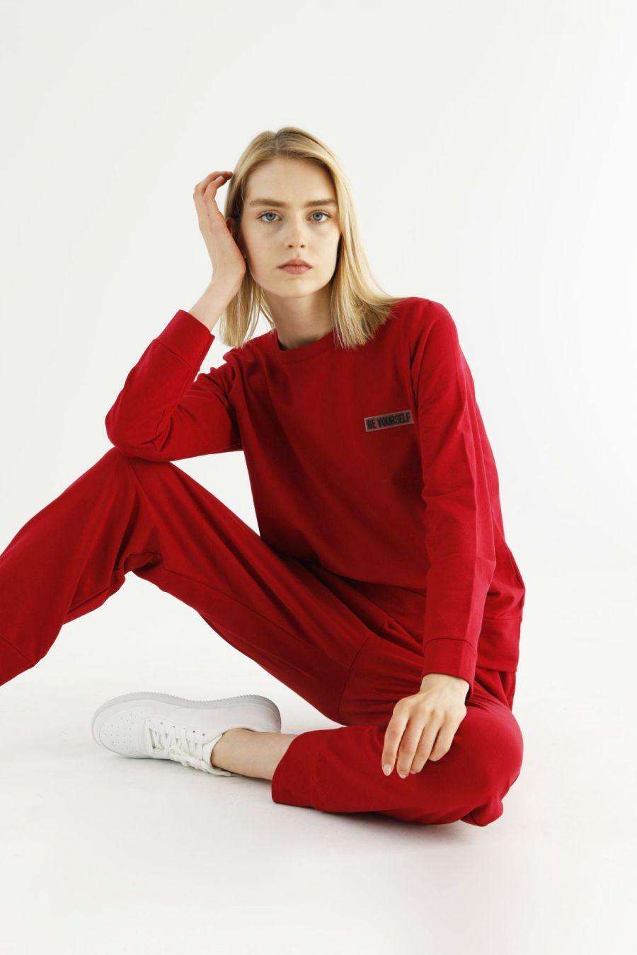 Kırmızı Cepli Eşofman-Sweatshirt Takım 21278032