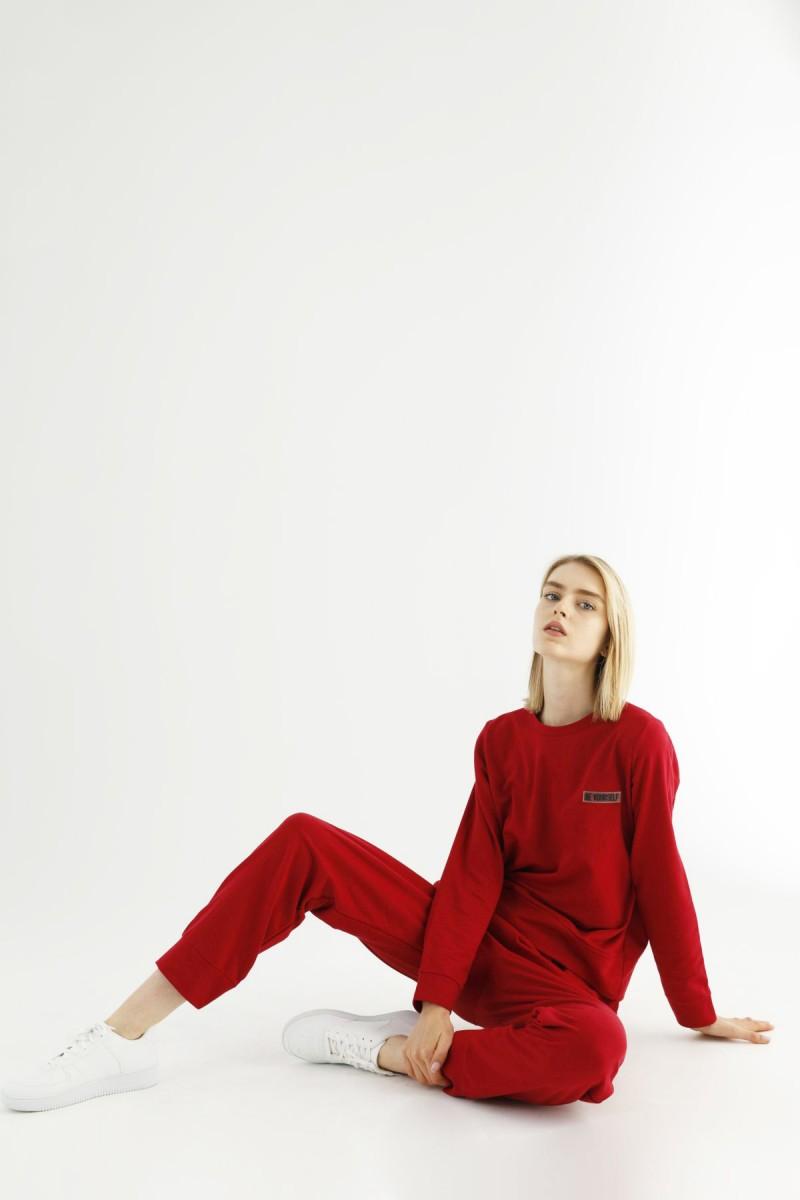 SİYAH İNCİ - Kırmızı Cepli Eşofman-Sweatshirt Takım 21278032