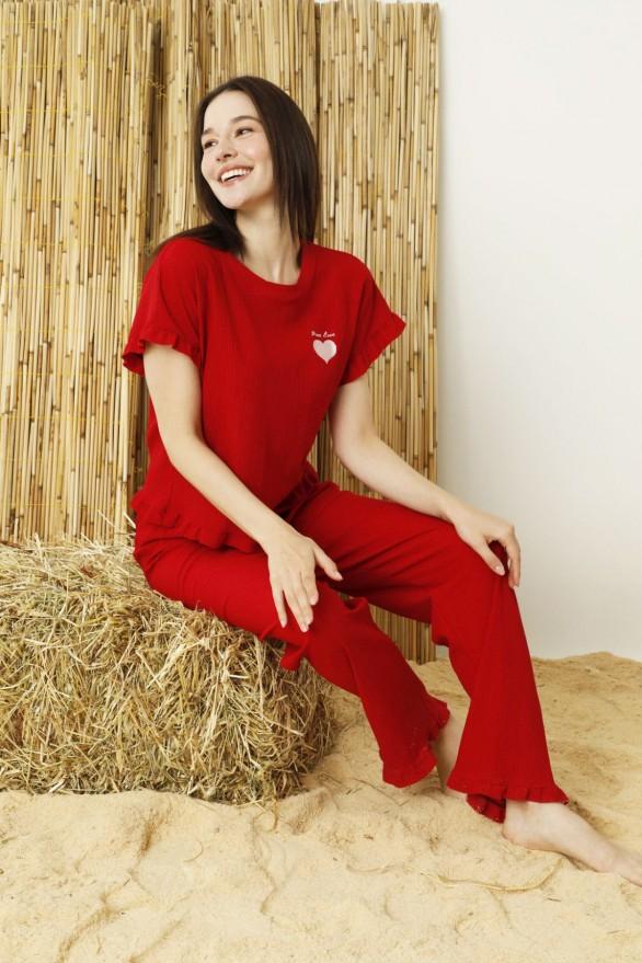 SİYAH İNCİ - Kirmizi Krinkıl Kumaş Nakışlı Likralı Pijama Takım