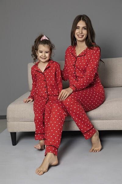 Kirmizi Pamuklu Likrali Biyeli Düğmeli Pijama Takım - Thumbnail