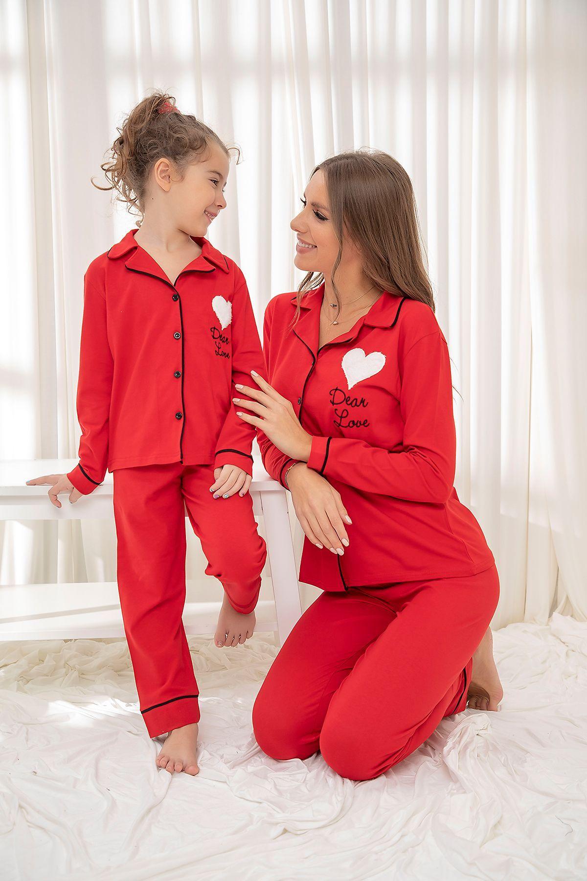 Kirmizi Pamuklu Likrali Düğmeli Biyeli Pijama Takım