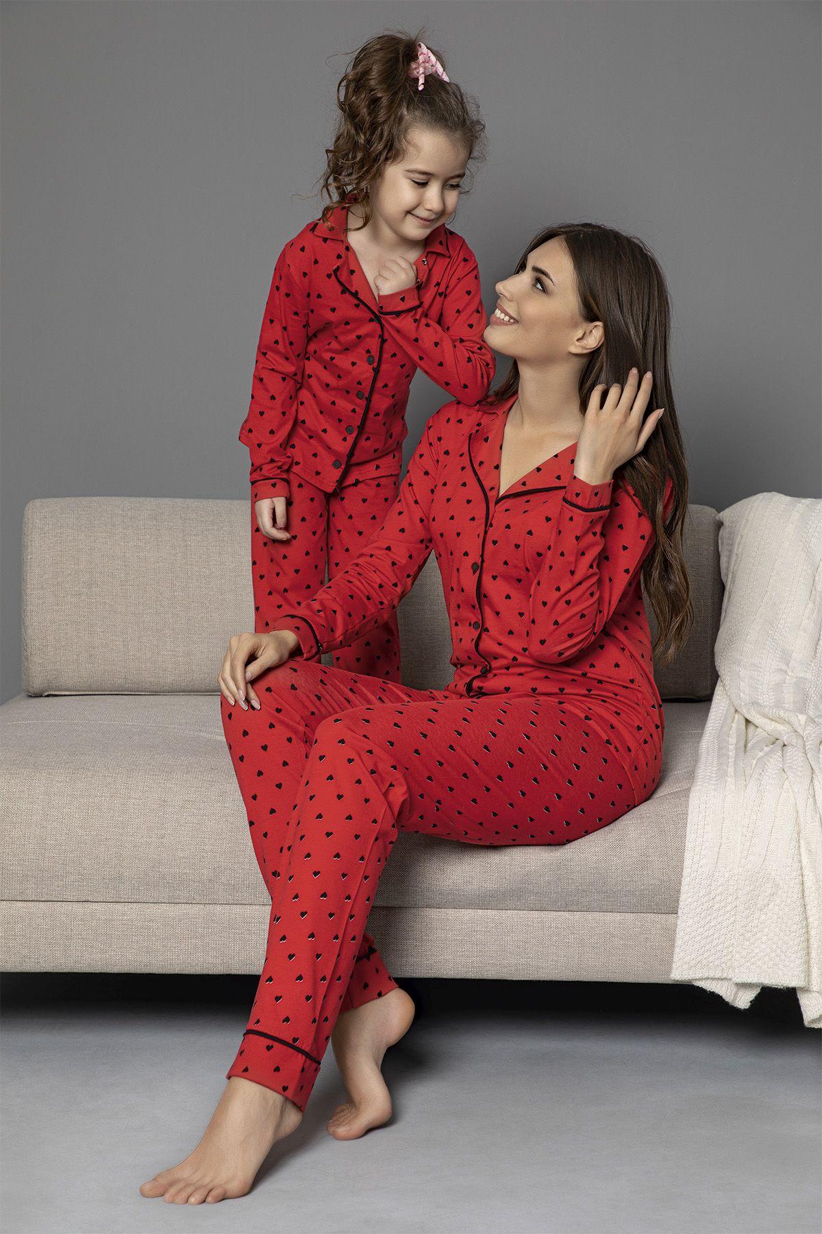 Kırmızı-Siyah Pamuklu Likrali Biyeli Düğmeli Pijama Takım