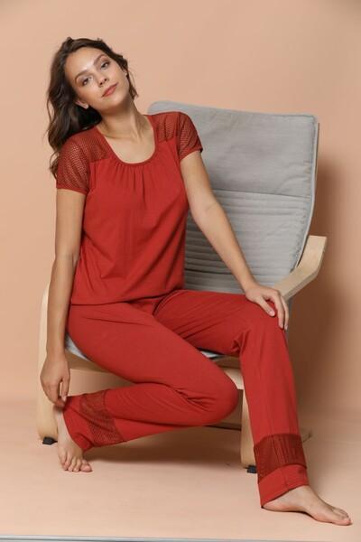 - Kısa Kollu Dantel Detaylı Pamuklu Likralı Pijama Takım