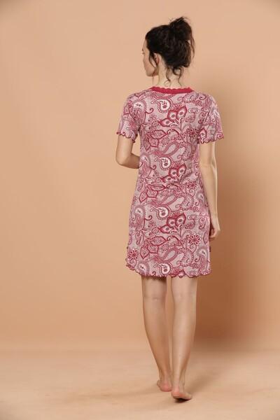 SİYAH İNCİ - Kısa Kollu Dantel Detaylı Viskon Elbise