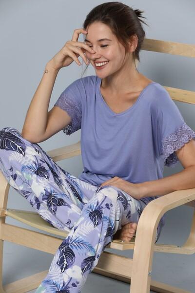 Kısa Kollu Dantel Detaylı Viskon Pijama Takım - Thumbnail