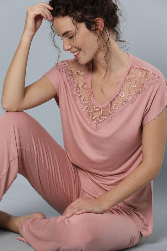 SIYAH INCI - Kısa Kollu Dantel Detaylı Viskon Pijama Takım